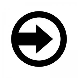 丸アイコンの矢印の白黒シルエットイラスト02