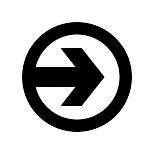 丸アイコンの矢印の白黒シルエットイラスト04