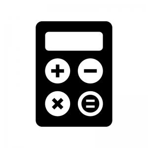 計算機・電卓の白黒シルエットイラスト04