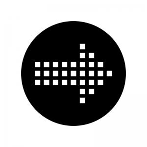 ドットの矢印の白黒シルエットイラスト04