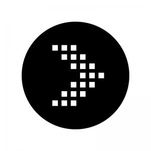 ドットの矢印の白黒シルエットイラスト05