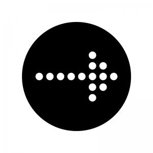 丸ドットの矢印の白黒シルエットイラスト03