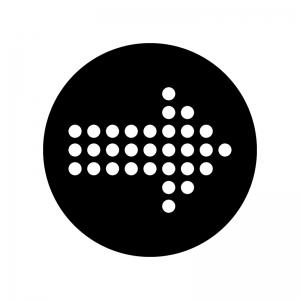丸ドットの矢印の白黒シルエットイラスト素材04