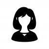 人物(女性)の白黒シルエットイラスト04