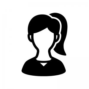 人物(女性)の白黒シルエットイラスト05