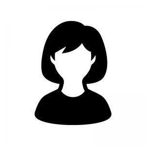 人物(女性)の白黒シルエットイラスト06
