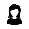 人物(女性)の白黒シルエットイラスト07