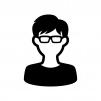 メガネをかけた男性の白黒シルエットイラスト