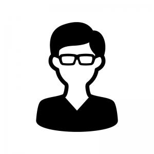 メガネをかけた男性の白黒シルエットイラスト02