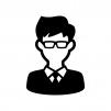 メガネをかけたサラリーマンの白黒シルエットイラスト