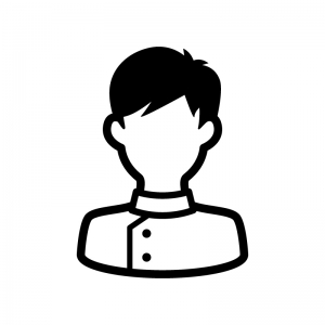 看護師(男性)の白黒シルエットイラスト