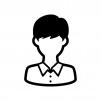 学生の白黒シルエットイラスト05
