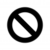禁止マークの白黒シルエットイラスト