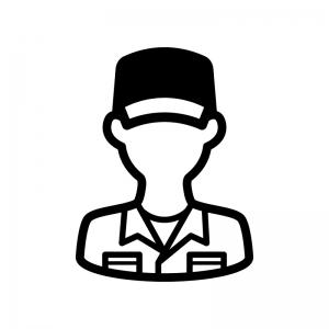 整備士の白黒シルエットイラスト02