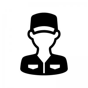 整備士の白黒シルエットイラスト03