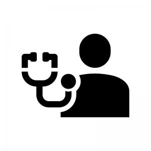 健康診断の白黒シルエットイラスト