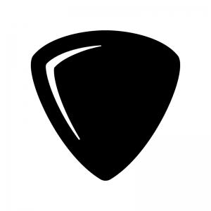 ギターのピックの白黒シルエットイラスト