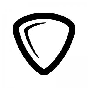 ギターのピックの白黒シルエットイラスト02