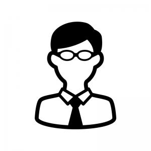 メガネをかけたサラリーマンの白黒シルエットイラスト02