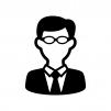 メガネをかけたサラリーマンの白黒シルエットイラスト03