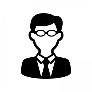 メガネをかけたサラリーマンのシルエット03 無料のaipng白黒