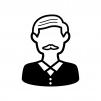 髭のお爺さんの白黒シルエットイラスト