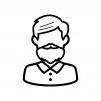 髭のお爺さんの白黒シルエットイラスト02