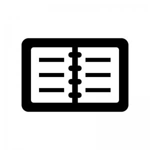 開いた手帳の白黒シルエットイラスト