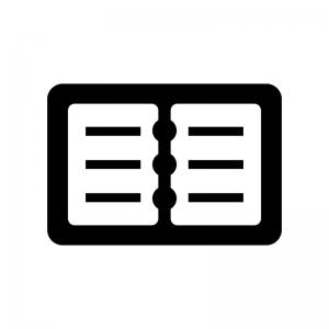 開いた手帳の白黒シルエットイラスト02