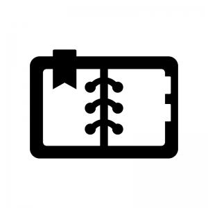 開いた手帳の白黒シルエットイラスト03
