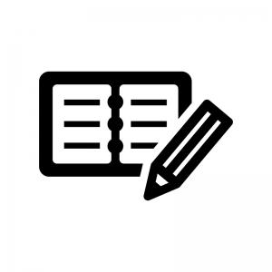 開いた手帳とペンの白黒シルエットイラスト02