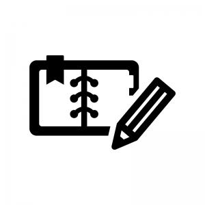 開いた手帳とペンの白黒シルエットイラスト03