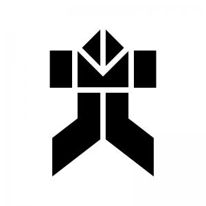 折り紙のヤッコさんの白黒シルエットイラスト02