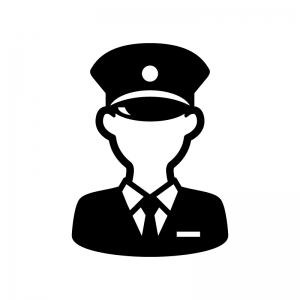 警察官の白黒シルエットイラスト