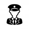 警察官の白黒シルエットイラスト02