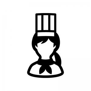 コック・シェフ(女性)の白黒シルエットイラスト