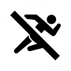 走るの禁止の白黒シルエットイラスト02