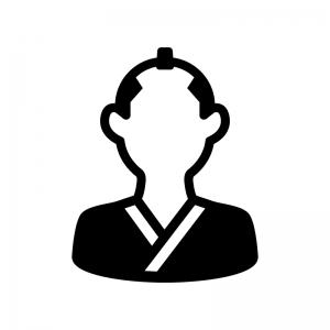 侍・武士の白黒シルエットイラスト