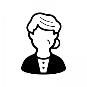 お婆さんの白黒シルエットイラスト02