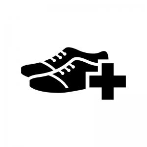 靴のメンテナンス・修理の白黒シルエットイラスト