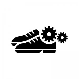 靴のメンテナンス・修理の白黒シルエットイラスト02