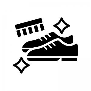 靴磨きの白黒シルエットイラスト02