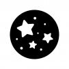 星空の白黒シルエットイラスト02