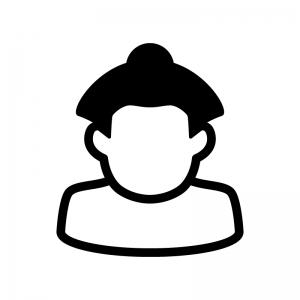 お相撲さんの白黒シルエットイラスト