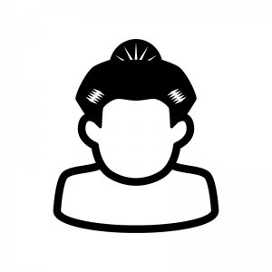 お相撲さんの白黒シルエットイラスト02