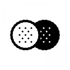 ビスケット・クラッカー(お菓子)の白黒シルエットイラスト