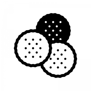 ビスケット・クラッカー(お菓子)の白黒シルエットイラスト02