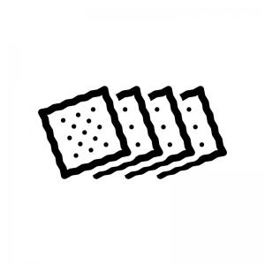クラッカー(お菓子)の白黒シルエットイラスト