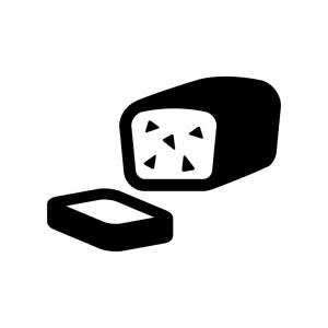 パウンドケーキの白黒シルエットイラスト02