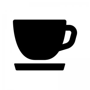 コーヒーカップの白黒シルエットイラスト06